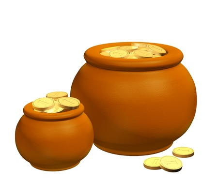 Two pots, filled with gold coins Stock Photo - 8814906