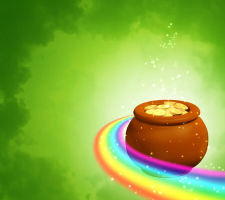Square green background with rainbow and pot photo