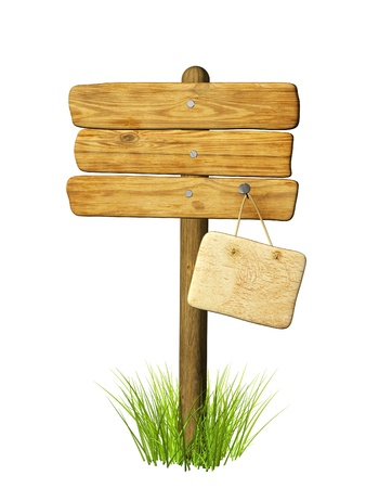 Wooden signboard. Object isolated over white photo