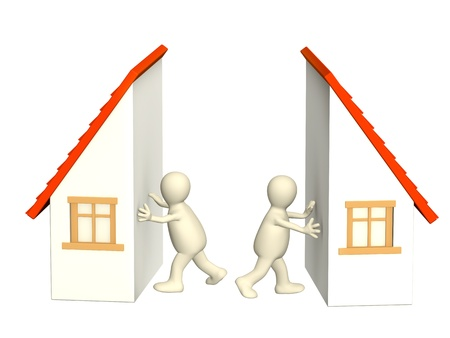 housing problems: Conceptual image - division of property at divorce