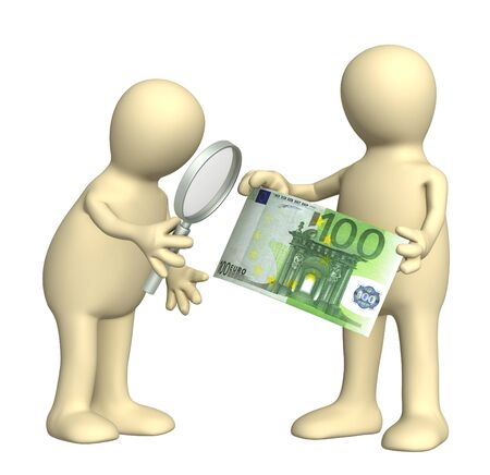 forger: Authentication of the banknote. Two puppets with loupe and euro banknote