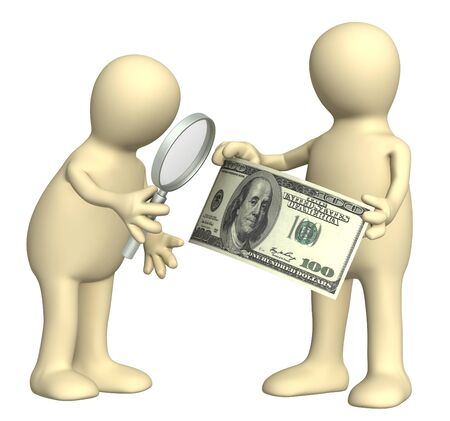 forger: Authentication of the banknote. Two puppets with loupe and dollar banknote