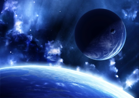 A beautiful space scene with planets and nebula Stock Photo - 8814915