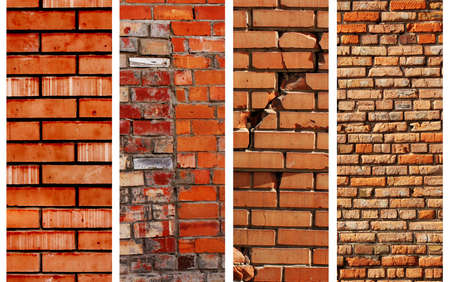 cracked cement: Vertical brick banners. Texture of old brick walls
