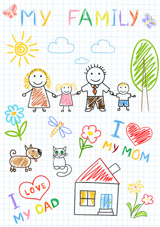 home painting: Vector sketchs - happy family. Sketch on notebook page