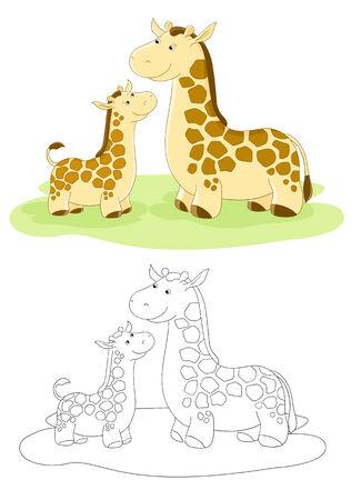 Familia de vector de jirafas - la madre y el bebé