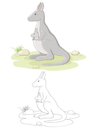 Vector family of kangaroo - mom and baby Vector