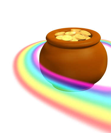 Pot, filled with gold coins. Isolated over white photo