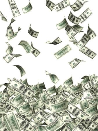 money flying: Símbolo de riqueza y éxito - lluvia de dólares Foto de archivo