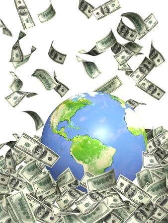 Bank Światowy: Earth i spadajÄ…cymi Dolar banknotów. Izolowane nad biaÅ'ym