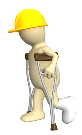 3d puppet - builder with crutches. Isolated over white Stock Photo - 8814945