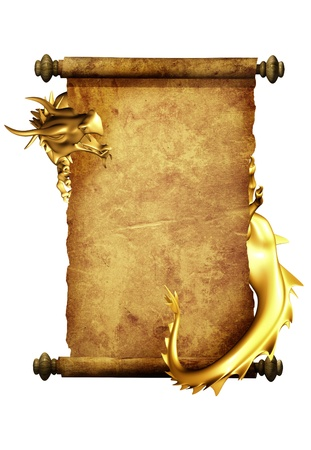 dragon vertical: Dragon and scroll of old parchment. Object isolated over white Stock Photo