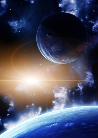 Space flare. A beautiful space scene with planets and nebula Stock Photo - 8814985