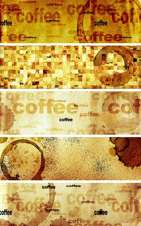 Collection of banners with paper texture and drops of coffee