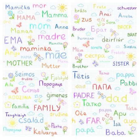 french text: Family - vector seamless background. Text in different languages