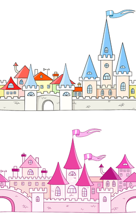 turret: Collection - seamless vector background with fantasy castle