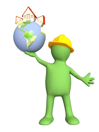 Builder - puppet, holding in hands Eartn with stylized house Stock Photo - 8815029