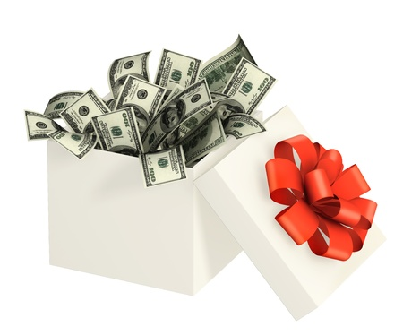 christmas bonus: Opened gift and dollars. Objects isolated over white Stock Photo