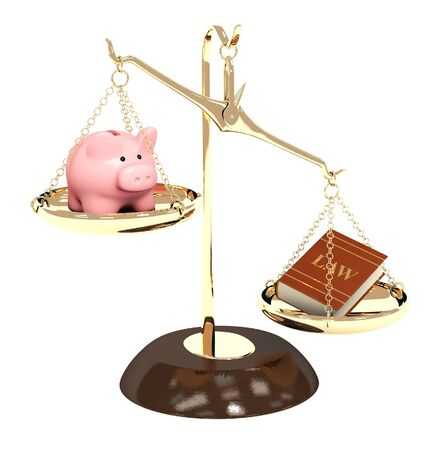 Piggy bank, gold scales and code of laws. Objects isolated over white