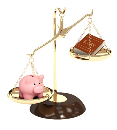 disharmony: Piggy bank, gold scales and code of laws. Objects isolated over white