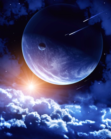 A beautiful space scene with planets and nebula Stock Photo - 8815024