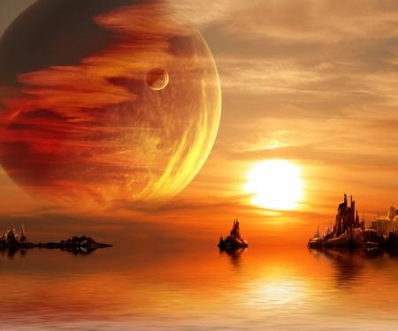 판타지 행성의 풍경 스톡 콘텐츠