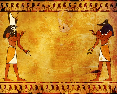 Background with Egyptian gods images - Anubis and Horus photo