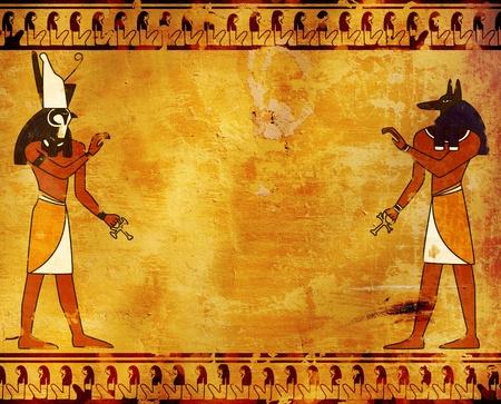 anubis: Background with Egyptian gods images - Anubis and Horus Stock Photo