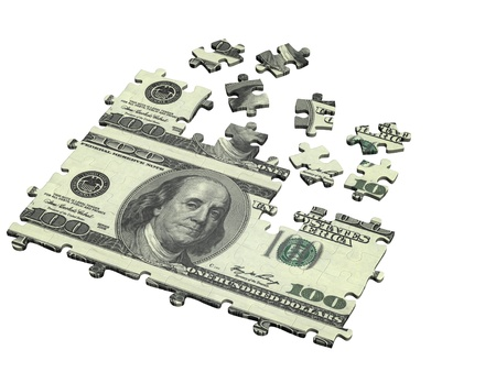 Collected puzzle with the image of dollar. Isolated over white photo