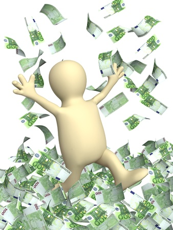 Happy puppet and a money rain. Isolated over white Stock Photo - 8948542