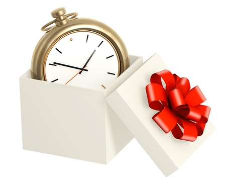 last: Time as a gift. Clock in gift packing Stock Photo