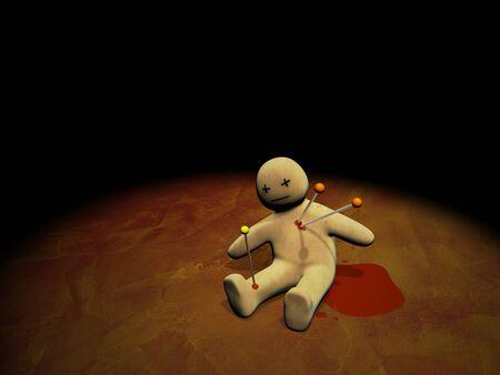 Dark series - voodoo doll, pierced with pins Stock Photo - 8948517