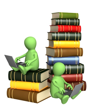 Library online. Two puppets with laptops Stock Photo - 8948527
