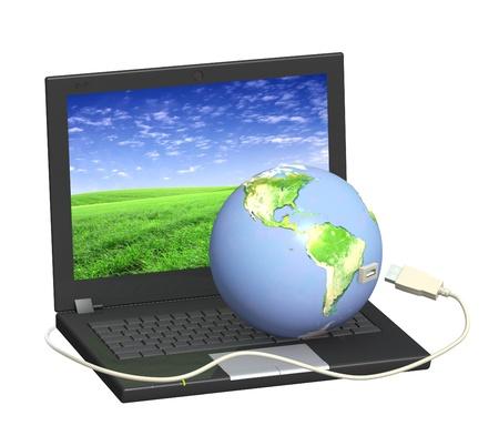 Image conceptuel - communication globale. Ordinateur portable et la Terre