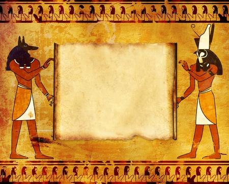 horus: Fondo con im�genes de dioses egipcios - Anubis y Horus Foto de archivo