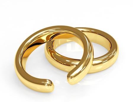 Symbol of divorce - broken wedding ring photo