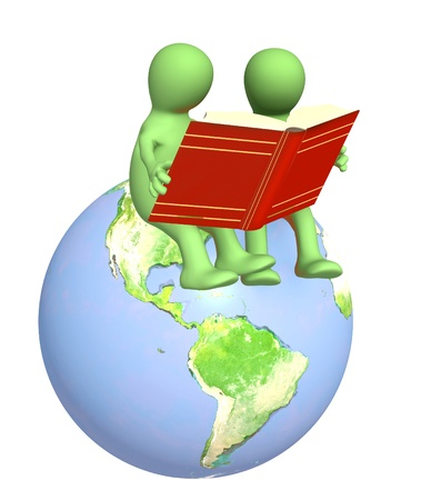 Two puppets, reading the books. Over white photo