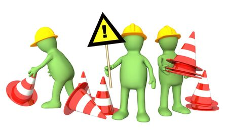 closed sign: Three 3d puppets with emergency cones