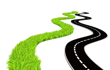 health symbols metaphors: Two roads - bright green grass and asphalted. Isolated over white