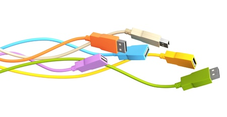 information medium: Six USB cables. Isolated over white
