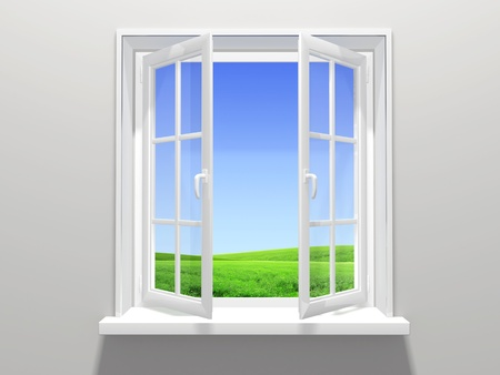 clean window: Conceptual image - moments of a life Stock Photo