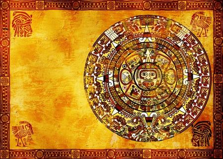 cultura maya: Calendario Maya en la antigua muralla. Fondo horizontal