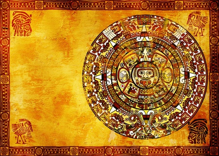 Maya calendar on ancient wall. Horizontal background photo