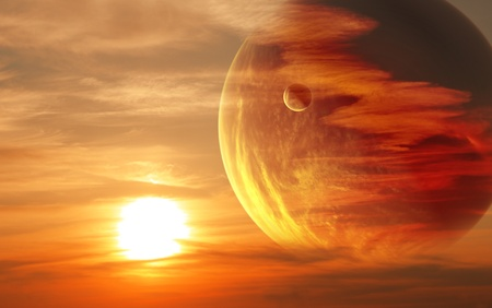 Collage - sunset in alien planet Stock Photo - 8948623