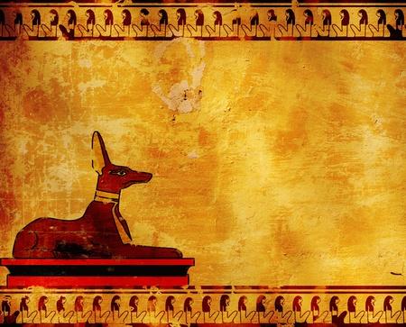 Background with Egyptian god Anubis image  photo
