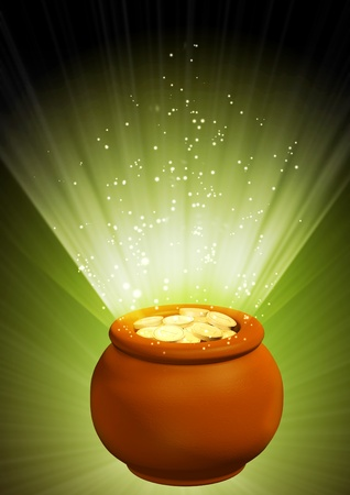 Background - pot, filled with gold coins Stock Photo - 8948600