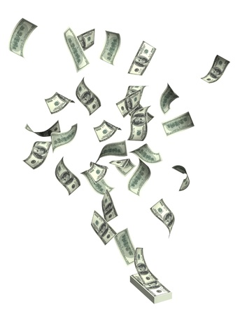 money flying: Flying dollars. Objects isolated over white