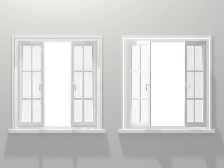 Two opened windows. 3d render photo
