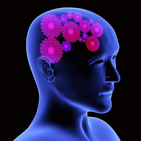 thinking machine: Imagen conceptual - proceso de pensamiento. 3D Foto de archivo