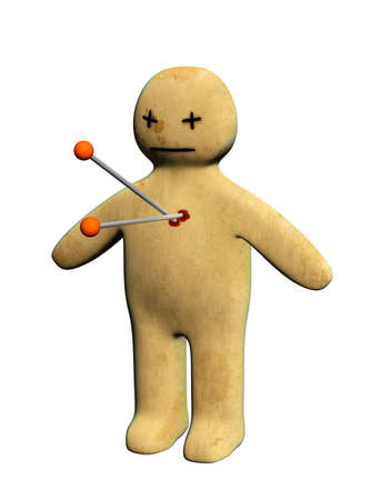 Dark series - standing voodoo doll, pierced with pins. Isolated over white photo